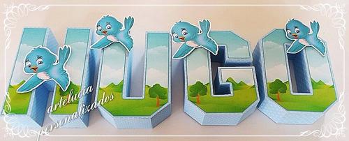 passarinho 7 letras 3d -artelucia personalizados