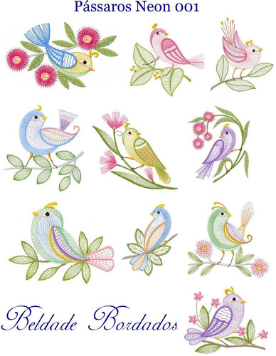 pássaros neon 001 - coleção de matriz de bordado lindos
