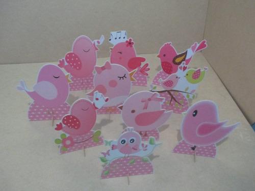 pássaros rosa display de mesa,festa infantil,mdf