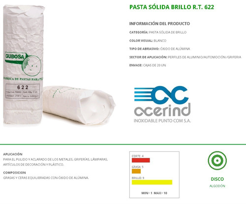 pasta blanca limpieza afilado pulido aclarado gubosa r.t.622