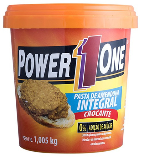 pasta de amendoim crocante - 1kg - power one