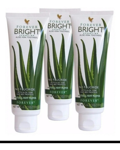pasta de dente forever bright babosa aloe vera! kit 03 unid.
