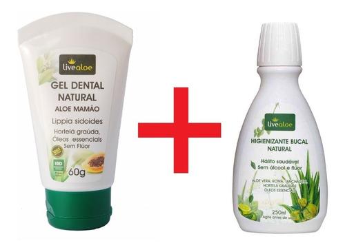 pasta de dente sem fluor natural enxaguante bucal live aloe