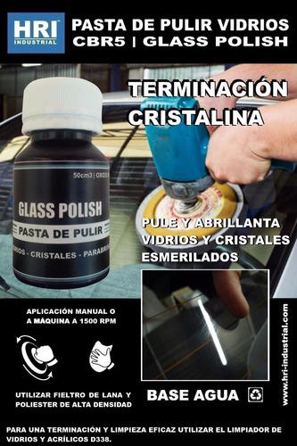 pasta de pulir vidrios hri 1 l ox. cerio grueso c/ 2 fieltro