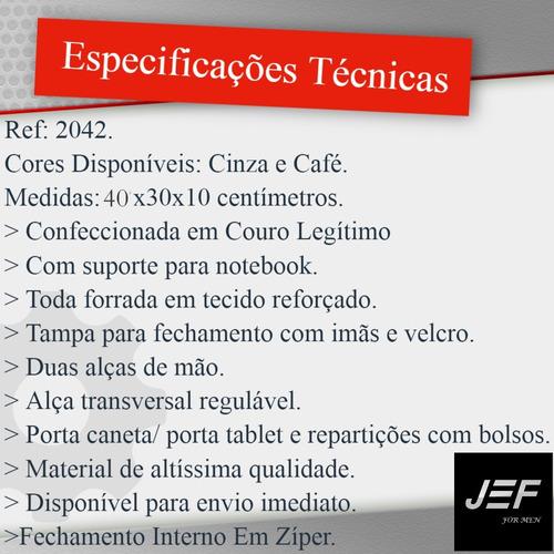 pasta executiva carteiro couro legítimo notebook até15,6 j&f
