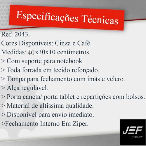 pasta executiva carteiro couro legítimo para notebook j&f