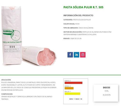 pasta pulir alto brillo rosada gubosa rt505 acero inoxidable