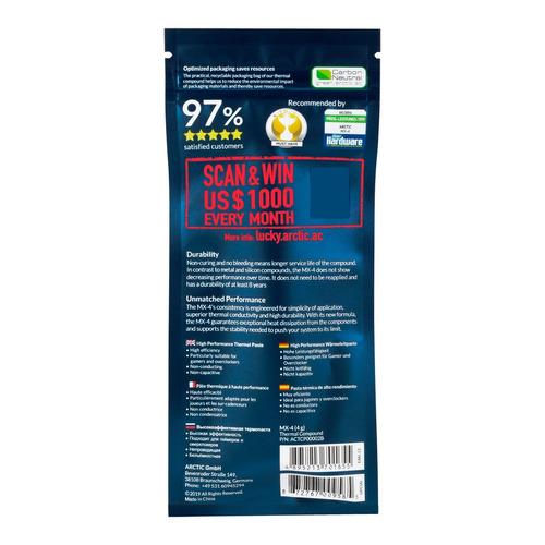 pasta térmica arctic mx-4 4g + espátula de plástico d brinde