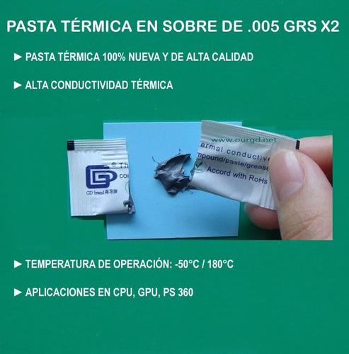 pasta térmica gd66 gris para cpu gpu 2 sobres de .005 grms