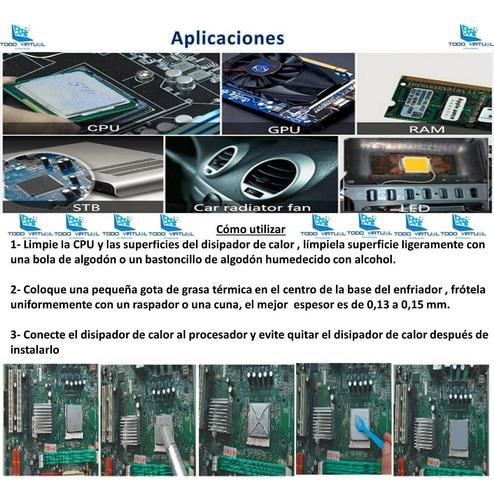 pasta termica gris x10 unid. 2g halnziy procesador, pc,video