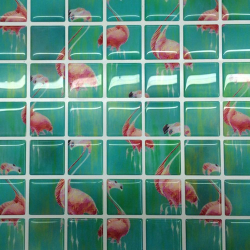 pastilha adesiva resinada flamingo rosa kit 4 placas