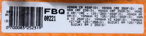 pastilha de freio cr 450 f cre 250f drf 230 suzuki rm - 0301