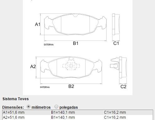pastilha de freio dianteira classic após 2010 frasle