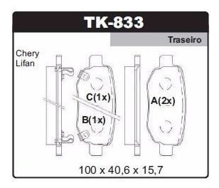 pastilha de freio dianteira e traseira lifan x60 1.8 16v