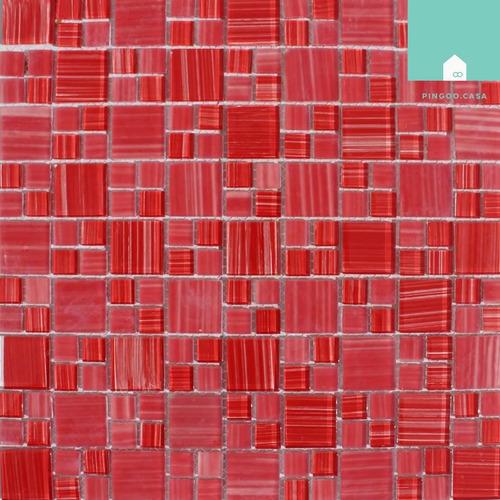 pastilha de vidro cristal vermelha vitalino