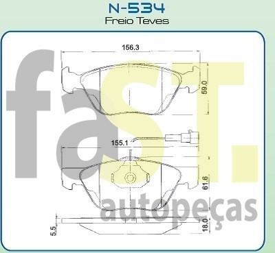 pastilha dianteira cobreq marea 2.0 20v /00 alfa 145 n534