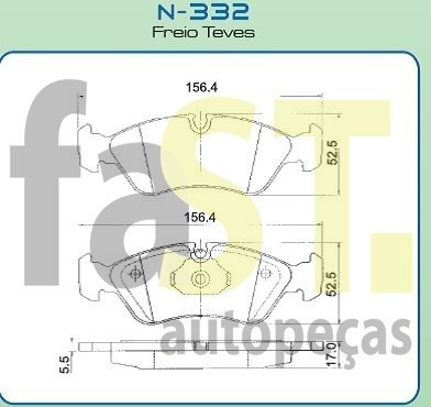 pastilha dianteira cobreq omega vectra 2.2  n332