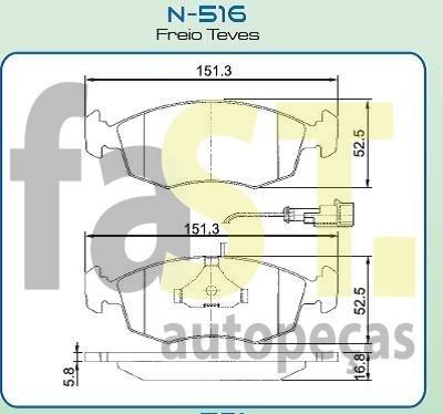 pastilha dianteira cobreq tempra 95/ tipo 2.0 n516