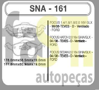 pastilha dianteira speedbrake focus1.6 1.8 2.0 99-08 161