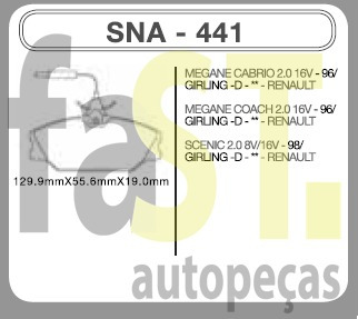 pastilha dianteira speedbrake megane scenic 2.0 16v 441