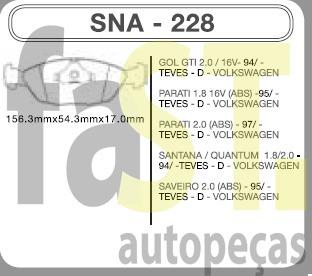 pastilha dianteira speedbrake santana gol gti 2.0 94/ 228