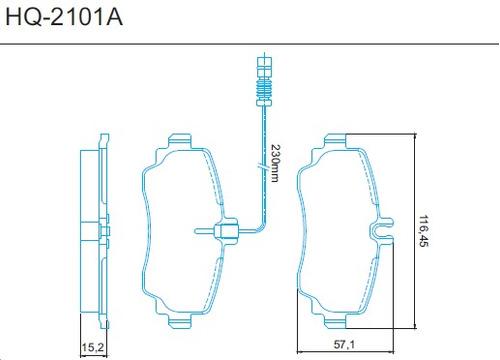 pastilha freio dianteira classe a 140 160 97/... hq-2101a