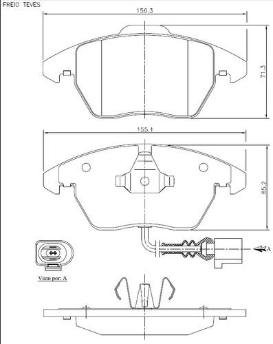 pastilha freio dianteira + disco a3 sportback 1.6 2008