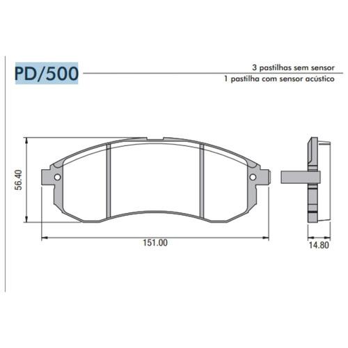 pastilha freio dianteira l200 outdoor hpe 2.5 07/12 frasle