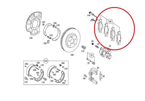 pastilha traseiro mercedes cls250 cdi 2011-2013 original