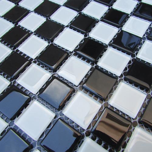 pastilhas adesivas de vidro preto e branco 30cmx30cm d12