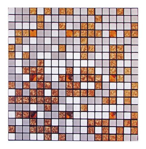 pastilhas adesivas parede metalizada prateada 30cmx30cm d43