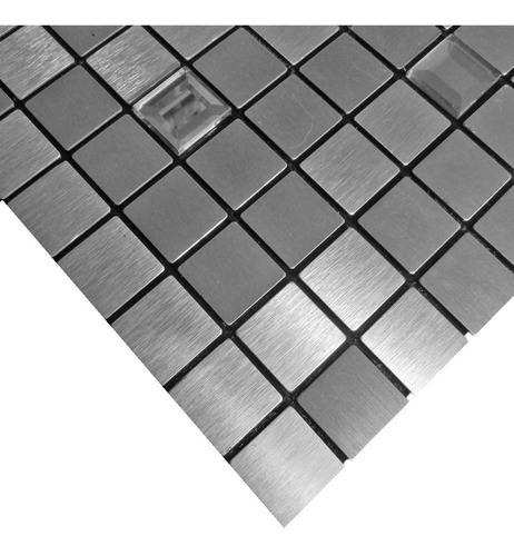 pastilhas adesivas parede metalizada prateada 30cmx30cm d51