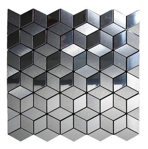 pastilhas adesivas parede metalizada prateada 30cmx30cm d57