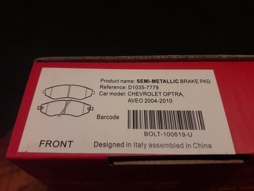 pastilla d freno del. chevrolet optra aveo04/10 7779 marussi