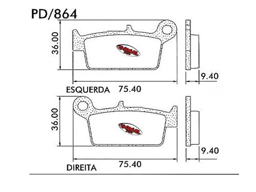 pastilla freno frasle pd864 yamaha yz 125 (2t) 98-00
