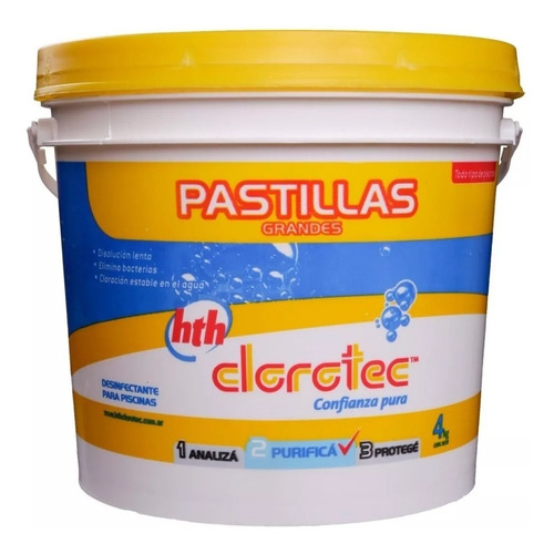 pastillas disolucion lenta elimina bact clorotec 4kg (200gr)