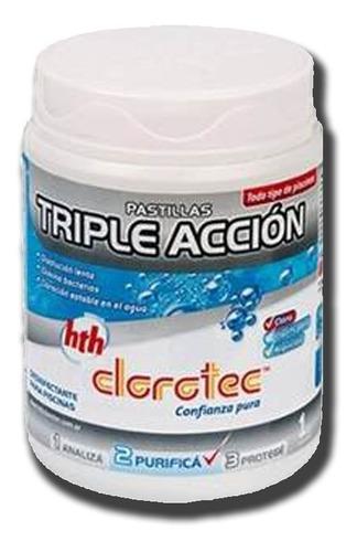 pastillas triple accion disol lenta pileta cloro clorotec 1k