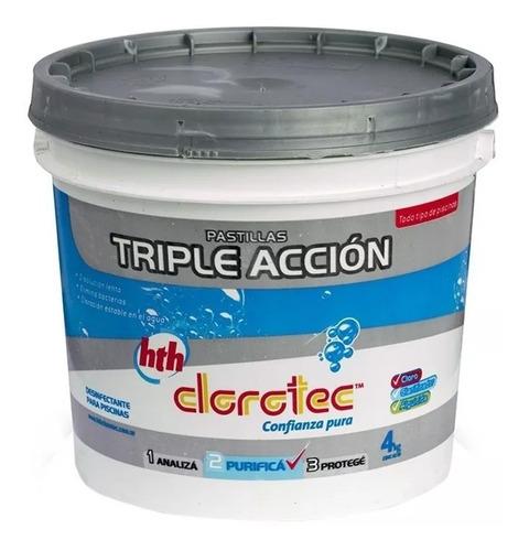 pastillas triple accion disol lenta pileta cloro clorotec 4k