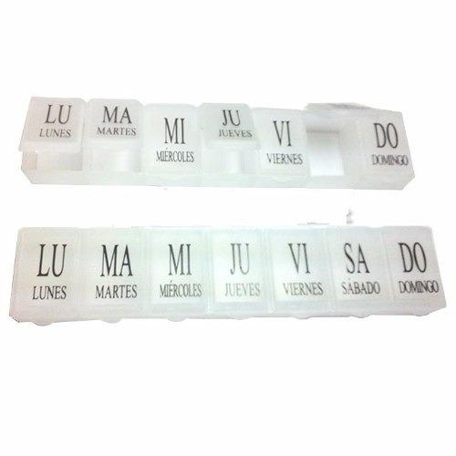 pastillero semanal de plastico rectangular 15cm