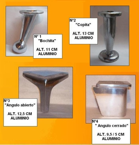 pata de aluminio espejo angulo cerrado nº 4 de 5 cms de alto