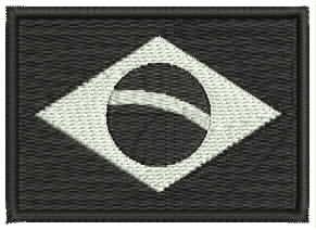 patch bandeira brasil bordada negativa preto e branco bdp107