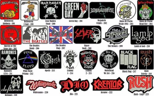 patch bordado banda rock metal motociclista.
