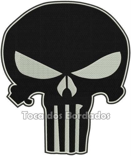 patch bordado caveira justiceiro black punisher 30cm car370