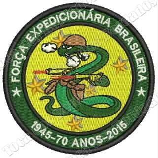 patch bordado cobra vai fumar feb 70 anos 2guerra 8cm mlt159