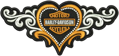 patch bordado h167 coração asas tribal harley davidson moto