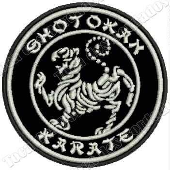 patch bordado karate shotokan preto c/ branco 8,5cm esp12