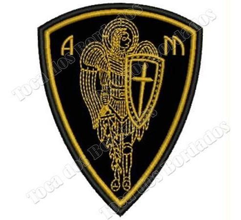patch bordado proteção anjo são miguel arcanjo 10x7cm rlg41