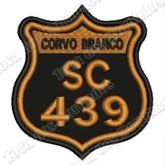 patch bordado serra do corvo branco sc439 8x7cm moto car710