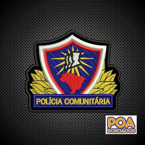 patch bordado termoc policia comunitária distintivo breve
