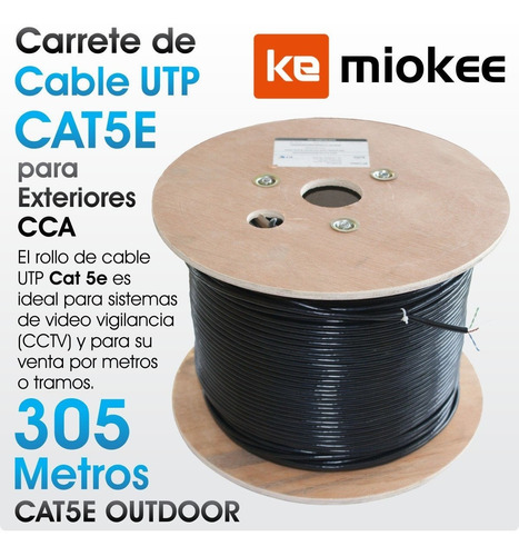 patch cord / cable red utp cat. 5e exterior miokee 305 mts.